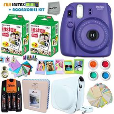 FujiFilm Instax Mini 8 Camera PURPLE + Accessories KIT for Fujifilm Instax Mini 8 Camera includes: 40 Instax Film + Custom Case + 4 AA Rechargeable Batteries + Assorted Frames + Photo Album + MORE