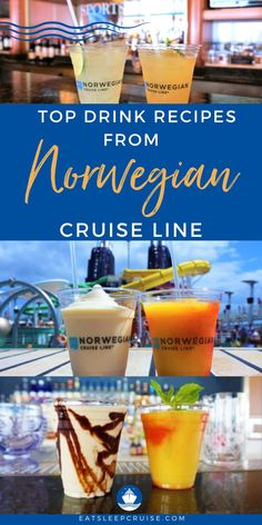 Are you searching for drink recipes for your favorite drinks from your last Norwegian cruise vacation? Join us as we help you recreate the best drinks in the comfort of your own home. Let these drinks take you back to the days of cruising in the sunshine as the ocean takes you to another port. From the Mango Meltdown, a Pina Colada, to a Sidecar, and so many more. These are sure to bring back fond memories of your favorite cruise drink. Cheers! Until we can go cruising again! Cruise Checklist, Cruise Tips, Top Drinks, Beach Drinks, Best Cruise, Cruise Vacation, Vacations, Popular Cocktails, Fun Cocktails