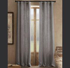 Heavyweight Textured Belgian Linen Drapery    bedroom draperies