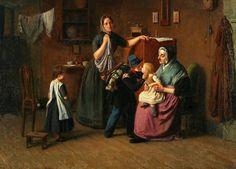 Et maleri af Julius Friedlænder fra 1850 - 'Den lille hornblæser tager afsked med sin familie'. Julius Friedlænder (1810–1861) var en dansk genremaler. Efter endt skolegang kom han på Kunstakademiet, vandt den mindre sølvmedalje 1828, den store 1829 og endnu samme år en pengepræmie for et maleri efter den levende model. Hans billeder efter italienske studier afløstes under Treårskrigen af emner fra matros- og soldaterlivet, uden at han dog malede egentlige slagbilleder. Maleriet giver et…
