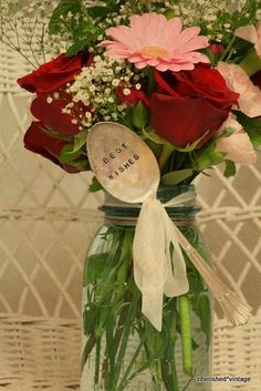LOVE these vintage stamped spoons for flower arrangement gifts!