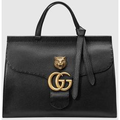 Gucci Gg Marmont Leather Top Handle ($2,325) ❤ liked on Polyvore featuring bags, handbags, gucci purses, black purse, gucci handbags, black leather purse and genuine leather purse