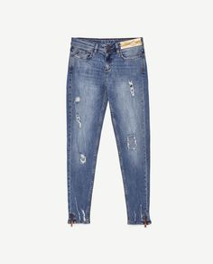 Image 8 of RIPPED MID-RISE JEANS from Zara Wide Jeans, Denim Jeans, Skinny Jeans, Jeans Claro, Striped Jeans, Kids Wear, Jeans Style, Custom Clothes, Patch Jeans