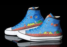 Illusion: Converse has teamed up with Nintendo to release a series of sneakers in celebration of the 25th anniversary of the Super Mario Bros. video game. These All Star Hi-Tops will be sold only in Japan, which is a shame because I'd love a pair! Photos courtesy Hayabusa Link via Toxel and Highsnobiety. http://illusion.scene360.com/design/18902/super-marios-bros-kicks/