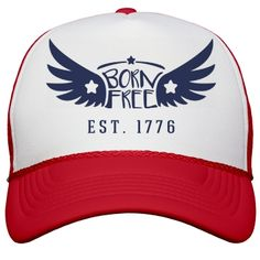 Est. 1776 July Fourth Hat | You were born free because you were born in America. America is the land of the free and the home of the brave. Support the greatest country ever assembled this Fourth of July as you rock out in this awesome trucker hat.
