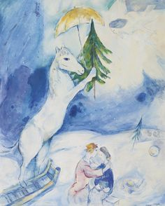 Fantasie de Noel, 1938, Marc Chagall. (1887 - 1985)  - Watercolor, Gouache, Colored Crayon and Pen and Ink on Paper -