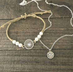 Customize your own Bullets For Belles pearl n twine bracelet and dainty necklace set! Bullet Casing Jewelry, Bullet Earrings, Stud Earrings, Dainty Necklace, Necklace Set, Country Jewelry, Pearl Set, Sams, Belly Rings