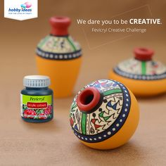 Paint, splash and create! Worli Painting, Bottle Painting, Bottle Art, Bottle Crafts, Pottery Painting Designs, Pottery Designs, Pottery Art, Vase Crafts, Diy Crafts
