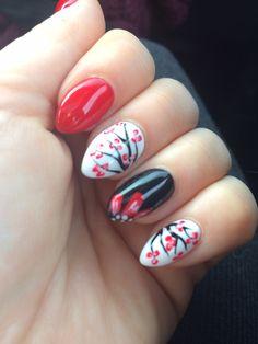 Black, white  & red almond gel nails
