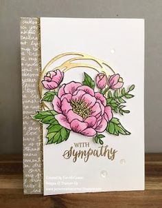 Sympathy card made using Stampin Up's Birthday Blooms, Rose Wonder and Swirly Scribbles Dies by Jan McQueen. More info @ www.janscreativecorner.blogspot.com