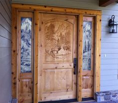 Love the carved front door, the etched glass side lights might be a more economical option