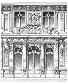 Paris. Part of the facade of the restaurant Duval. Architect Lecq. The architecture of the second half of the XIX century. Drawings and sketches.