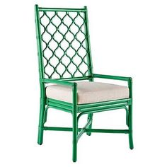 The tall backed Ambrose Dining Chair features Berber inspired lattice work is comfortable to lean against and creates an airy textured décor in a space when unoccupied. Work well with rattan tables or complement most wood finishes to create a unique dining environment.  <b>Color: Parsley</b>