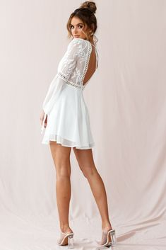 Shop the Carson Crochet Bell Sleeve Dress White only at Selfie Leslie! Grad Dresses, Homecoming Dresses, Dress Outfits, Casual Dresses, High School Graduation Dresses, White Dress Outfit, Party Outfits, Quinceanera Dresses, Dress Clothes
