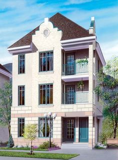#MultiFamily #Plan 64953 | Unit 1 on main level can be converted into a business, & units 2 and 3 each have a balcony & abundant fenestration. Each unit: 811 sq.ft. (72.99 sq.m.), with each unit including entry hall with coat closet, family room, kitchen / dining room, bedroom, bathroom, laundry facilities.