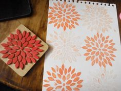 Sello artesanal Handmade foamy stamps dhalia #stamp