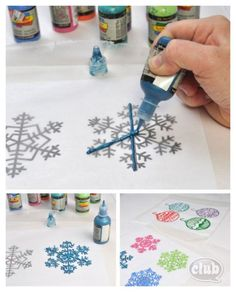 Print out your fav snowflakes -take bottle of paint and copy over design -wait for it to dry -vwala you have snowflakes and ornament designs!