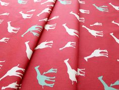 birch fabrics Serengeti Giraffe Farm Coral