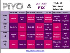 PiYo & 21 Day Fix Hybrid Schedule