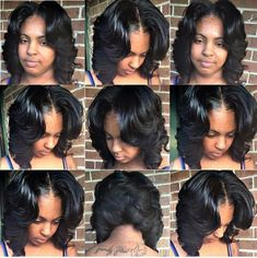 Middle part layered bob