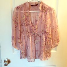 Boho ZARA silk top✂️ANY OFFERS WELCOME✂️ Beautiful spring colors. See thru. I can be wear with a skin color bra or with a tank top. Comfortable. No rips or stains. 100% silk. 30% off on bundles of two items or more! ✂️OFFERS WELCOME✂️ Zara Tops Blouses