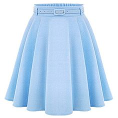Choies Blue High Waist Silky Skater Skirt With Belt
