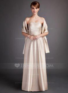 [US$ 109.99] A-Line/Princess Strapless Floor-Length Charmeuse Bridesmaid Dress With Ruffle (007000902)