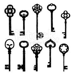Set Of Sketch Old Keys royalty-free stock vector art