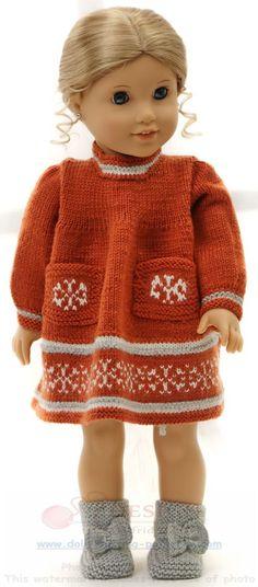 modele tricot poupée - Mode d'automne pour votre poupée, en rouille, gris et blanc