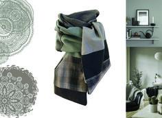 écharpe homme foulard tour de cou gris noir carreaux fait main modèle unique lefil : Echarpes par lefil