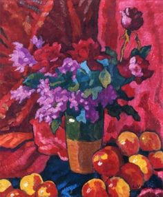 Louis Valtat Vase of Flowers with Red Drapery