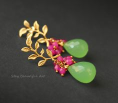 Prehnite Chalcedony With Dyed Jade And Gold Plated 925 Sterling Silver Post Earrings Gold Bangles Design, Gold Jewellery Design, Gold Jewelry, Jewelry Design Earrings, Gold Earrings Designs, Argent Sterling, Sterling Silver, Etsy, Pearls