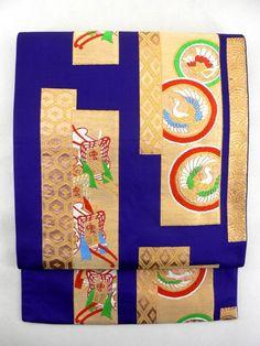 Purple Rokkaku Fukuro Obi, Tanzaku Tori Pattern /  紫色地 短冊取り御所解文様 六通袋帯  【リサイクル着物・アンティーク着物・帯の専門店 あい山本屋】#Kimono #Japan