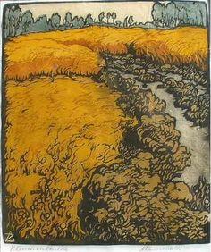 Arie Zonneveld (1905-1941) - Weide met Koren (Meadow with Corn). Woodblock Print.