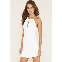Forever 21 Women's  Scuba Knit Halter Dress (22 NZD) ❤ liked on Polyvore featuring dresses, forever 21, white halter dress, white day dress, halter neckline dress and knit dress