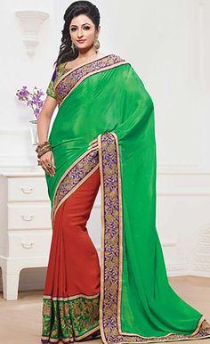 Buy Latest Indian Designer Green Georgette Designer Saree Online at economical Cost with Efello.com.