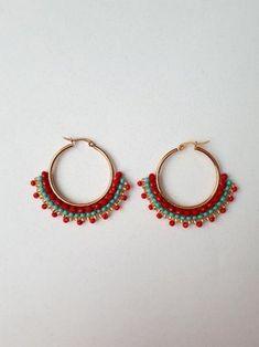 Bead Jewellery, Wire Jewelry, Beaded Jewelry, Handmade Jewelry, Diy Macrame Earrings, Bead Earrings, Brick Stitch Earrings, Diy Jewelry Inspiration, Earring Tutorial