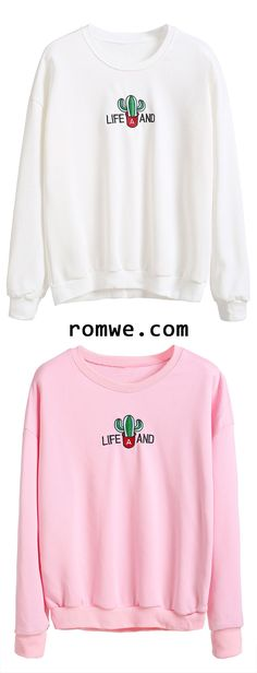 43d2c7415e Dropped Shoulder Seam Cactus Embroidered Sweatshirt Cute Sweatshirts