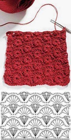http://crochelinhasagulhas.blogspot.com.au/2018/01/pontos-em-croche.html Crochet Squares, Crochet Borders, Crochet Motifs, Crochet Stitches Patterns, Crochet Granny, Crochet Diagram, Crochet Shawl, Knitting Stitches, Diy Crochet
