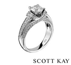 Beautiful round cut solitaire with diamond encrusted white gold band by engagement ring Scott Kay