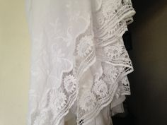 54 wide White embroidered Cotton lace fabric/White by Fabricden