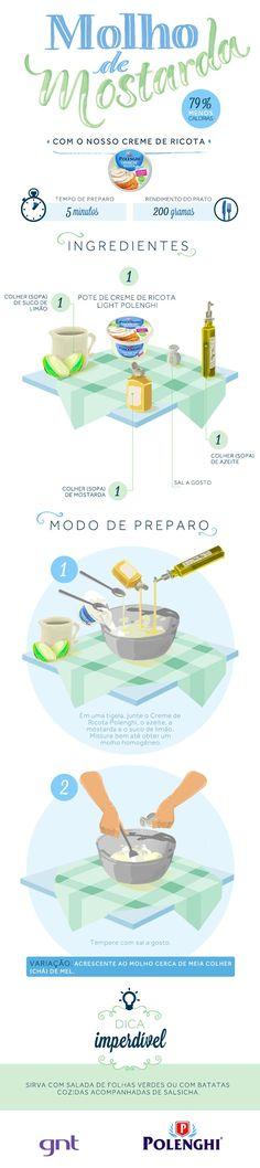 Nosso creme de ricota - mostarda (Foto: Divulgao) I Love Food, Good Food, Yummy Food, Sauces, Zoodle Recipes, Food Illustrations, Easy Cooking, Diy Food, Sauce Recipes