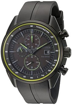 Drive From Citizen Eco-Drive Men's Quartz Stainless Steel and Polyurethane Casual Watch, Color: Black (Model: CA0595-11E)