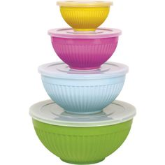 A must have set of melamine bowls.  Set of 4 pretty stacking bowls by RICE DK at www.pinksandgreen.co.uk