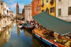 Fruit market on a boat - Campo San Barnarba - Venice Italy