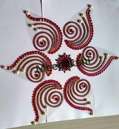 Kundan Rangoli Rangoli Designs Flower, Rangoli Ideas, Flower Rangoli, Beautiful Rangoli Designs, Beaded Embroidery, Hand Embroidery, Embroidery Designs, Art N Craft, Craft Work