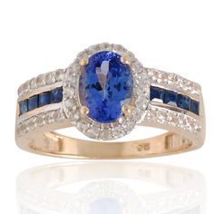 Tanzanite, Black Spinal, White Sapphire Ring in 9k Yellow Gold Ring Jewelry