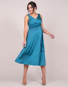 694fe2970b1 Petrol Blue Midi Maternity Cocktail Dress. Bleu PétroleGrossesseRobe DrapéeMaternité  ...
