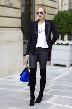Slogan T | Tuxedo Blazer | Super Skinny Jeans | Stuart Weitzman Highland Over the Knee Boots