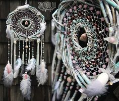 Amazing grand white color dreamcatcher Clouds inside witch natural stones for love and harmony by snovedi.ru